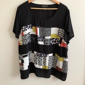 Forever 21 Plus Color Block Print Rayon Blouse 3X